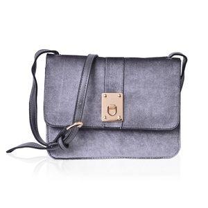 Gray Velvet and Faux Leather Crossbody Bag